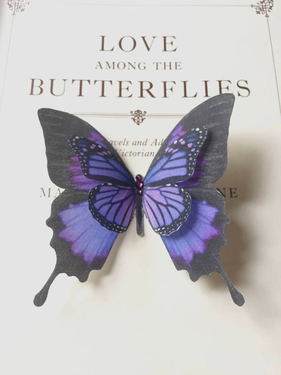 hand cut silk butterfly hair clip large purple swallowtail