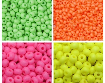 Neon Beads Choice Pink Yellow Orange or Green Czech Glass Beads 25g size 6/0 4mm Neon Colors Crafts Jewelry