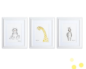 Watercolor Safari Animals Nursery Art Set, Gender Neutral Nursery Decor, Jungle Baby Shower Decor, Giraffe Print, Tiger Art, Zebra Art