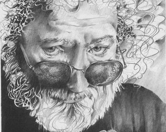 Jerry Garcia Fine Art  Print, Detail Drawing, Wall Decor