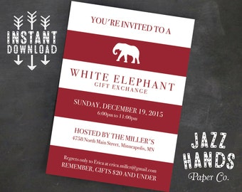 Items Similar To White Elephant Invitation Candycane Stripes Gift - White elephant christmas party invitations templates