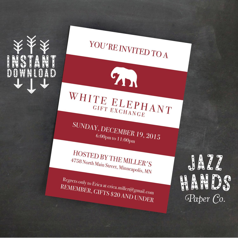 White elephant invitation template diy printable white zoom solutioingenieria Choice Image