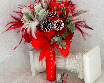 Winter Wedding Bouquet - Red bridal bouquet -Winter bouquet, brooch bouquet- READY TO SHIP