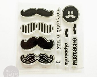 "CLEARANCE SALE:  Ms. Kimm Creates MUSTACHE 3""x3"" Photopolymer Clear Stamp Set"