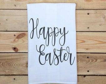 Happy Easter Tea Towel, Easter Flour Sack Towel, Holiday Kitchen Towel, Easter, Resurrection Day
