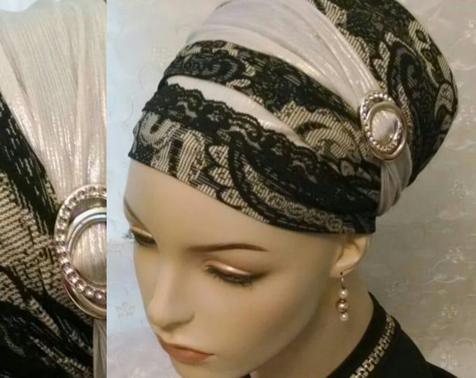 Featured listing image: Stunning elegant sinar tichel, tichels, head scarf, head wrap, hair snood, hair scarf, Jewish hair covering, Shabbat, weddings, apron tichel