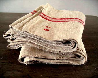 Perfect pair of large antique French hemp or chanvre tea towels torchons with hanging loop, monogrammed 'BC' 78cm x 53cm unused 39 euro