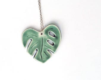 Monstera Leaf Necklace, Green Philodendron Split Leaf, Porcelain Jewelry, Long Necklace, Tropical Leaf Style, Gifts for Her, Plant Lovers
