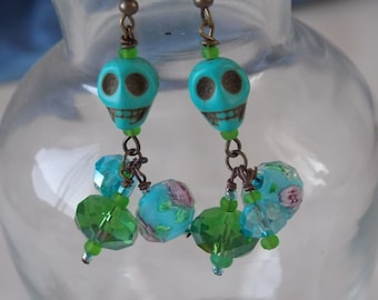 Skull Earrings Turquoise Blue and Green Beaded Skull Earrings  E55