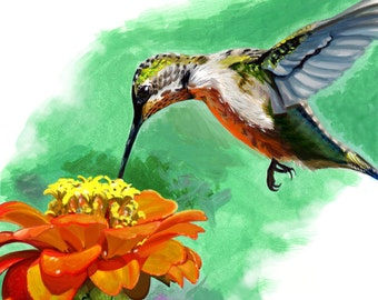 Hummingbird Painting // Acrylic Print // Acrylic Painting // boyfriend gift // coworker gift // best friend gift