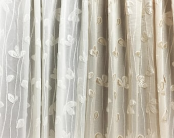 Sheer Fabric - Polyester Patterned Sheer Panel - White or Champagne Sheer  - Leafy Vine Pattern - Singed Flower Fabric - P15 - 1 Panel