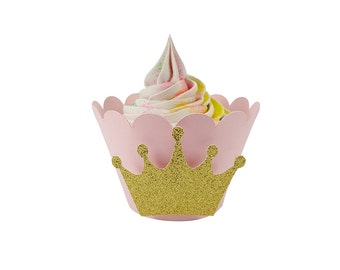 Princess Party - Pink and Gold - Cupcake Wrappers - Princess Crown