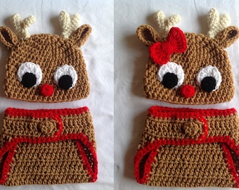 Christmas Baby Crochet Hat and Diaper Cover - Rudolph. Reindeer Hat. FREE SHIPPING