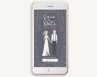 Whimsical Save the Date, Electronic Portrait Invitation, Bride and Groom invite, Personalized digital smartphone wedding invitation, WMS