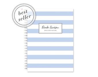 Blank Recipe Book Personalized - Stripe   Custom   Stationery   Bridal Shower    Journal   Cooking   Keepsake   Blue    Food   Kitchen
