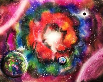 Original painting Spray paint art Space painting Space art Pink space decor Nebula painting Large wall art Galaxy painting Space wall decor
