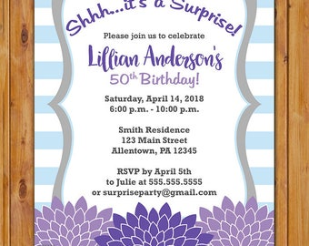 Surprise Birthday Fall Purple Violet Floral Flower Invite Any Age 50th 60th Birthday Party Invite 5x7 Digital JPG (601)