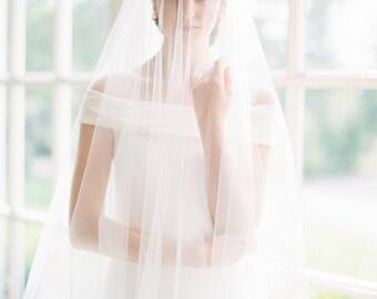 wedding veil, tulle veil, fingertip length bridal veil, veil with blusher, drop veil, circle veil, simple veil, ivory tulle veil - JENNY