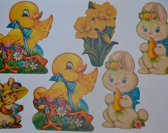 Vintage Easter Decorations: Set of Six Die Cuts - Easter Bunny, Chicks, Flowers