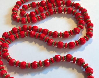 "Faceted Red Coral 48"" Long Necklace"