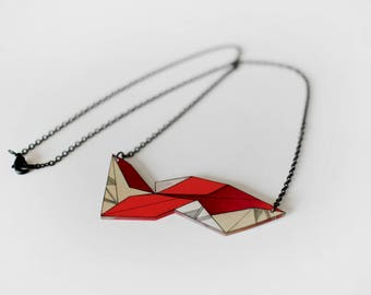 Geometric Necklace, unique shrink plastic necklace, metal chain jewelry, nickel free, bright red and cream jewellery