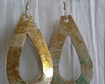 Leather Earrings Pierced or Clip on Double sided Hand cut