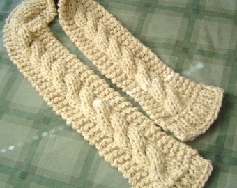 0066 Mens Pattern Bulky Cable and Ribs Knit Scarf by CarussDesignZ