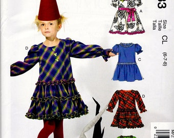 New Oop McCalls CHILDS PARTY DRESS -Belt and Bag Pattern m6638/mp283 Sz Girls 6-8 Uncut Factory Folded