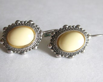 Ivory Lucite Clip Earrings Oval Silver Vintage 1980's Picot Edge
