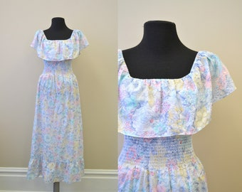 1970s Pastel Floral Ruffled Maxi Dress