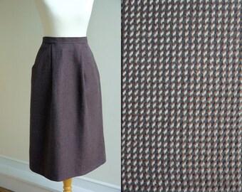 1970s St Michael Wool Midi Pencil Skirt * Size Small