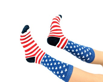 4th of July Socks / American / Patriotic Stars and Stripes / Red White Blue