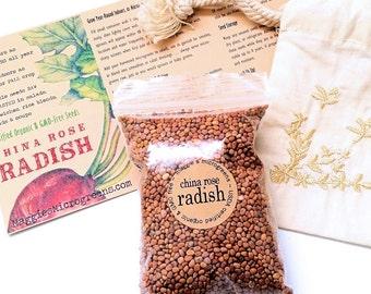 Bulk Pack China Rose Radish Organic Seeds - DIY Garden Indoor Outdoor Culinary Gourmet Gift Kit