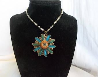 Creepy Eye Eyeball Turquoise Silver Necklace