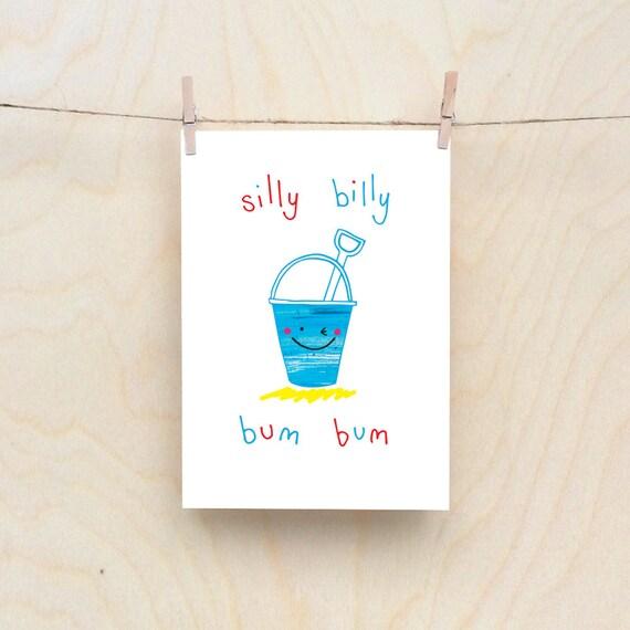 Bum Bucket Card, Rude kids cards, Silly Children's cards, Toddler rude words card. kids birthday card, funny kids card. funny birthday card.