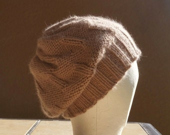 Slouch Hat, Tam, Beanie, Beret, Stocking Cap Tan, Beige, Taupe, Brown. Hand knit from 100% Alpaca wool.