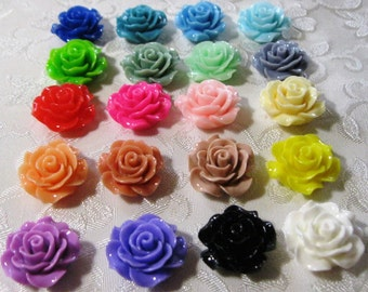 Choose Your Color Mix Resin Ruffled Rose Flower Cabochons No Hole 18mm Beads 930