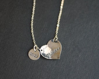 Graduation Heart Necklace, with 2018 Charm- Customized   by I Heart This Jewelry