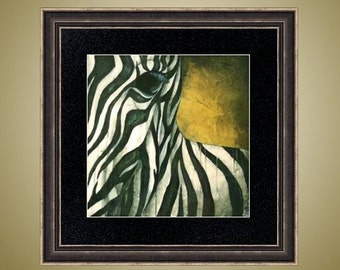 PRINT or GICLEE Reproduction -- Zebra Print African Animal Safari Art - Between The Lines
