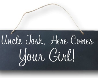 Chalkboard Style Wedding Sign - Here Comes Your Girl - Rustic Style Wedding Decor - Here Comes the Bride - Flower Girl or Ring Bearer Sign