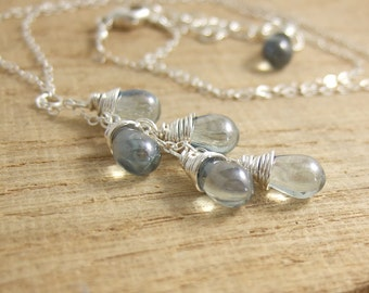 Necklace with a Cascade of Blue Luster Glass Teardrops on a Sterling Silver Chain CDN-695