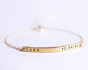 Gold bar bracelet / Mom bracelet / Personalized bar bracelet / Name bracelet / Delicate bar bracelet / LucaJewelry