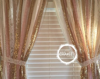 Pink & Gold Sparkle Sequin Garland Curtain with Lace - Nursery Decor, Curtain, Crib Garland, Window Treatment