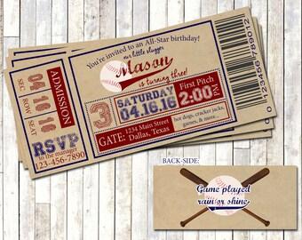 BASEBALL TICKET INVITATION, Vintage Baseball Birthday Invite