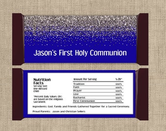 First Communion Chocolate Bar Wrappers - Holy communion candy wrapper, Blue Communion Wrappers, Boys Communion, First Communion Party Favor