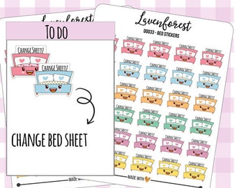 cute bed stickers, bed planner stickers, planner stickers bed, chore stickers, cleanning stickers, change sheet planner stickers, D0033