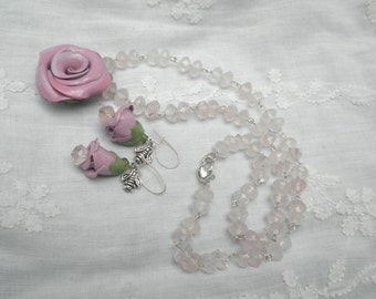 Necklace, Earrings Set, Natural Gemstones, Rose Quartz,Hand Sculpted Clay,Flower Jewelry,Gemstone Earrings,Necklace,Wedding Jewelry Set,OOAK