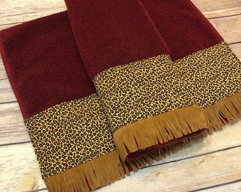 Bath Towels, Cheetah Bath Towels,  Leopard towels, custom towels, decorated towels, august ave, fringe, leopard, bath, red bath towel