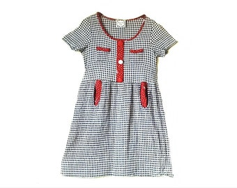 Vintage 1990s gingham babydoll mini dress // 1990s babydoll black white gingham grunge club kid mini dress