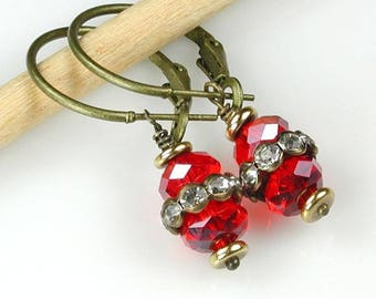 Red Crystal and Bronze Hoop Earrings